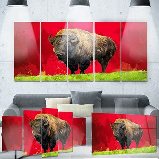 Designart 'Lone Bison' Animal Metal Wall Art - 60 in. wide x 32 in. high - 5 Panels (As Is Item)