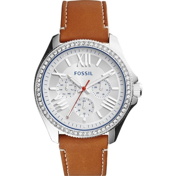 Fossil Women's Cecile Multi-Function Silver Dial Tan Leather Watch