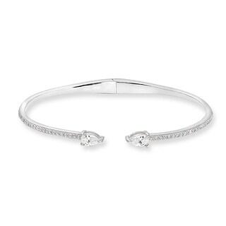 ICZ Stonez Dainty Teardrop Cubic Zirconia Sterling Silver Cuff Bangle Bracelet