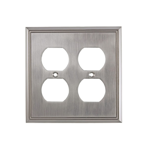Shop Rok Wall Plate Contemporary Quadruple Receptacle Outlet Brushed