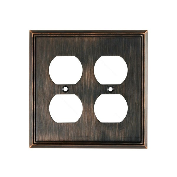 Shop Rok Wall Plate Conte Quad Receptacle Outlet Brushed Oil Rubbed