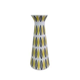 Sagebrook Home 12141-05 Decorative Ceramic Vase, Yellow/Black/White Ceramic, 4 x 4 x 10.5 Inches