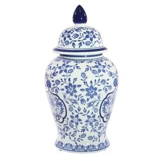 Sagebrook Home 13465-01 Ceramic Covered Temple Jar, Blue/White Ceramic, 9.5 x 9.5 x 18 Inches