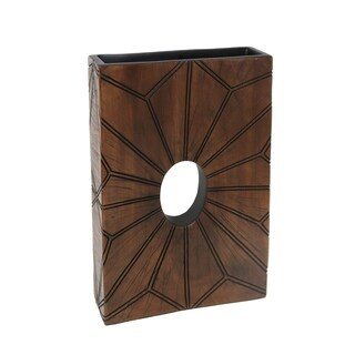 Sagebrook Home 13593-01 Decorative Resin Vase, Brown Polyresin, 9.25 x 2.75 x 14 Inches