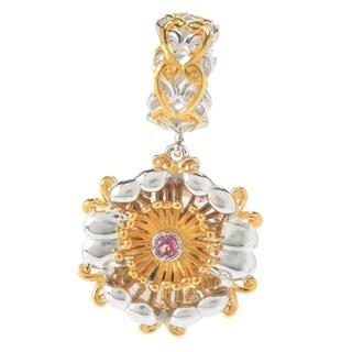 Michael Valitutti Palladium Silver Pink Tourmaline October Birthstone Sculpted Flower Drop Charm