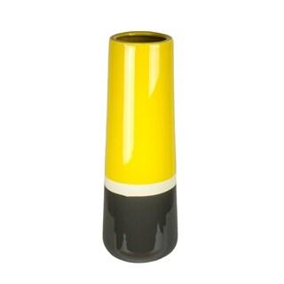 Sagebrook Home 10835D Ceramic Vase, Yellow/White/Gray Ceramic, 4 x 4 x 11.75 Inches
