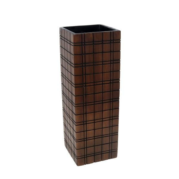 Sagebrook Home 13592-04 Decorative Resin Vase Checker Pattern, Brown Polyresin, 5.25 x 5.25 x 16 Inches