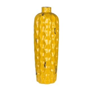 Sagebrook Home VC10077-02 Bottle Vase, Yellow Ceramic, 5.25 x 5.25 x 16.5 Inches