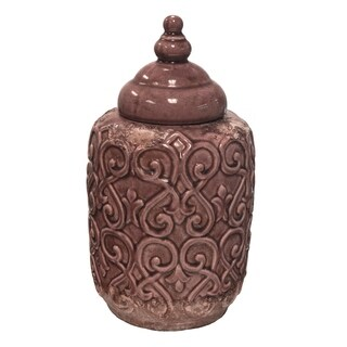 Sagebrook Home VS10084-03 Lidded Jar, Crackle Pink Cement, 7.5 x 7.5 x 14.25 Inches