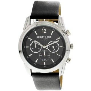 Kenneth Cole Men's Leather Japanese Quartz Watch (Silver/Black)