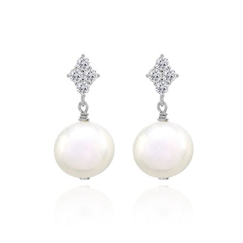 Glitzy Rocks Freshwater Cultured White Pearl Sterling Silver Dangle Earrings with CZ Accents