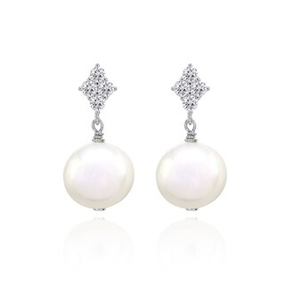 Glitzy Rocks Freshwater Cultured White Pearl Sterling Silver Dangle Earrings with CZ Accents - N/A
