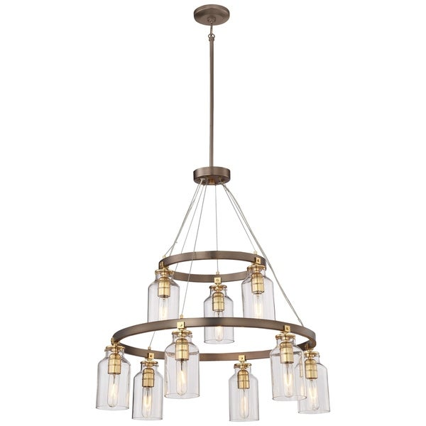 Minka Lavery Morrow Harvard Court Bronze Metal 9-light Chandelier with Goldtone Highlights and Clear Glass Shades