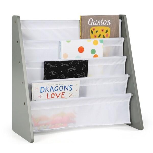 Tot Tutors Kids Book Rack Storage Bookshelf, Grey & White