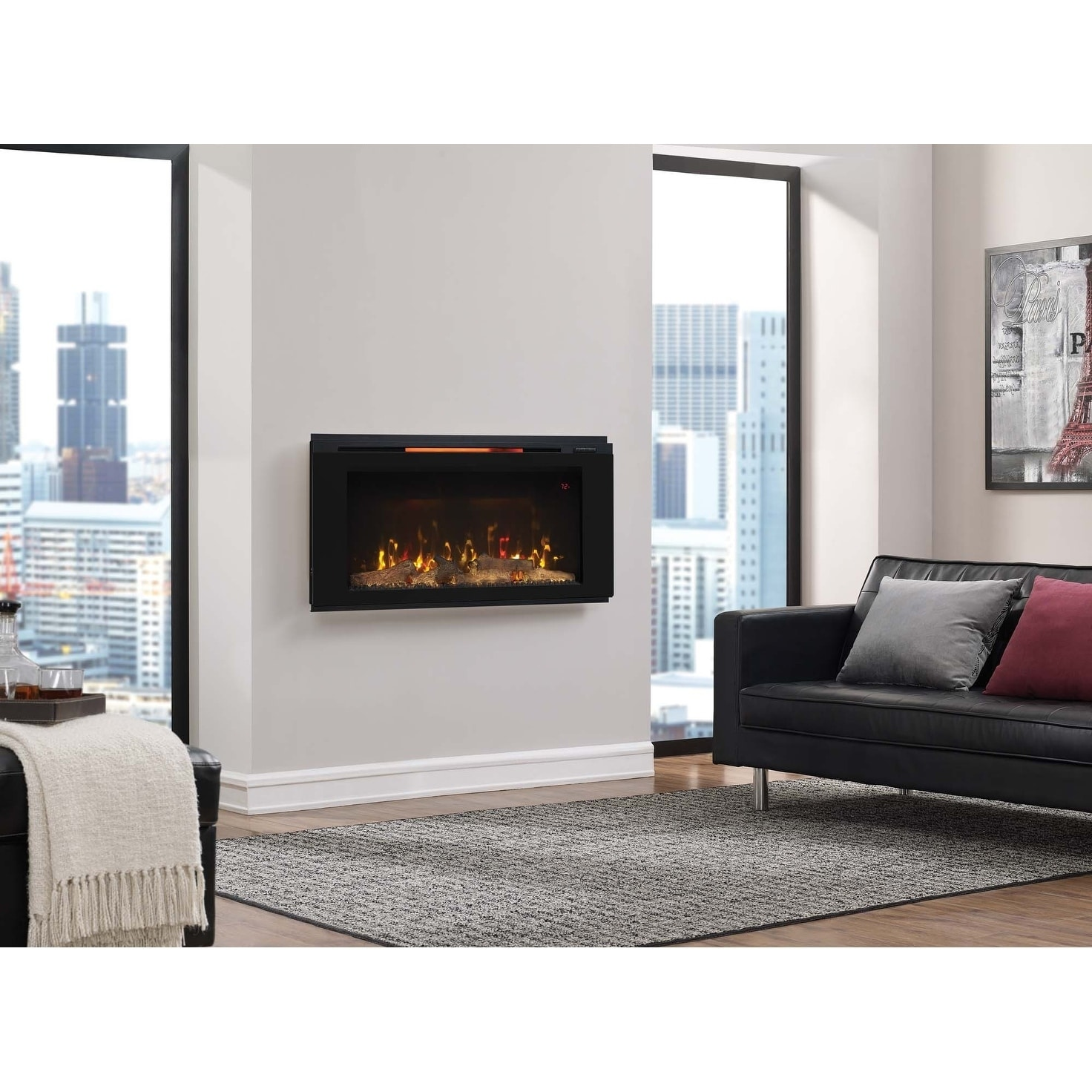 Shop Helen 36 Wall Mounted Electric Fireplace Black Overstock