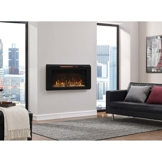 "Helen 36"" Wall Mounted Electric Fireplace, Black"