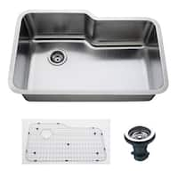 Empire 32 Inch Undermount Single Bowl 16 Gauge Stainless Steel Kitchen Sink with Soundproofing