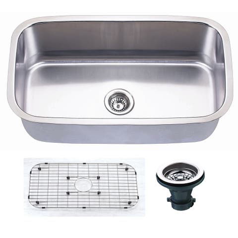 "Premium Undermount 16 Gauge Stainless Steel 31.5"" Single Bowl Kitchen Sink with Grid and strainer"
