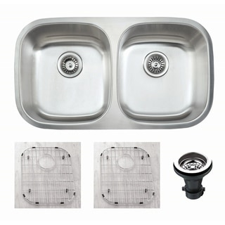 """Premium Undermount 16 Gauge Stainless Steel 32.5"""" 50/50 Double Bowl Kitchen Sink with Grid and strainer"""