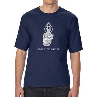 LA Pop Art Men's Tall Word Art T-shirt - Blue Lives Matter