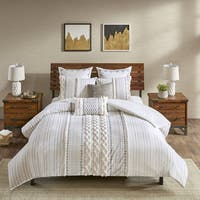 INK+IVY Imani Ivory Cotton 3-piece Full/ Queen Size Duvet Cover Set in Ivory (As Is Item)