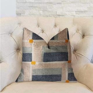 Plutus Bay Window Blue and Beige Luxury Decorative Throw Pillow