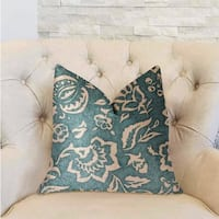 Plutus Elsi Pom Blue and Beige Luxury Throw Pillow