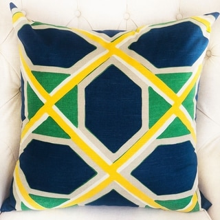 Plutus Obliquity Blue, Yellow and Green Luxury Decorative Throw Pillow