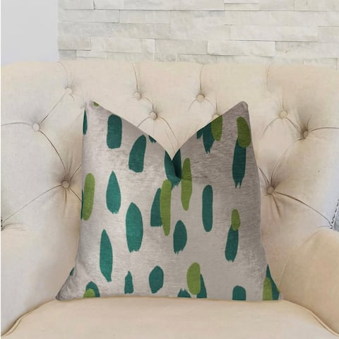 Plutus Bosky Willow Green and Beige Luxury Decorative Throw Pillow