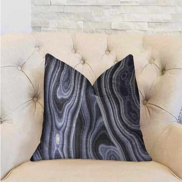 Plutus Swiss Marble Blue Luxury Decorative Throw Pillow