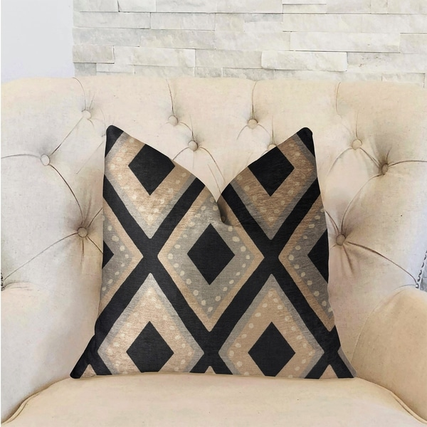 Plutus Jager Dotz Blue and Beige Luxury Decorative Throw Pillow