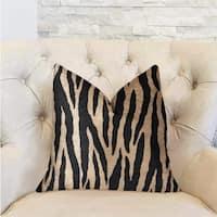 Plutus Zippy Zebra Black and Beige Luxury Throw Pillow