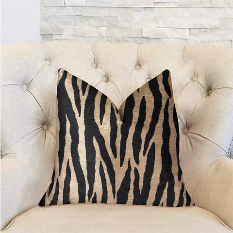 Plutus Zippy Zebra Black and Beige Luxury Decorative Throw Pillow