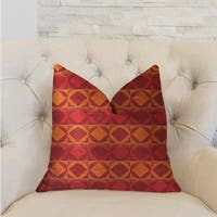Plutus Celestial Red and Orange Luxury Decorative Throw Pillow