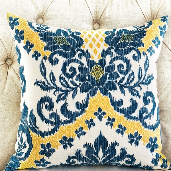 Plutus Lasso Blue, Beige and Yellow Luxury Decorative Throw Pillow