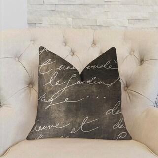 Plutus Love Script Black Luxury Decorative Throw Pillow