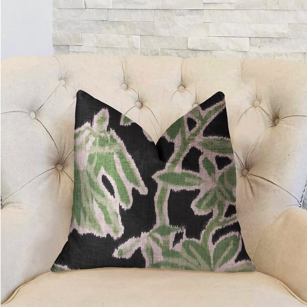 Plutus Grass Swallow Green and Black and Beige Luxury Decorative Throw Pillow