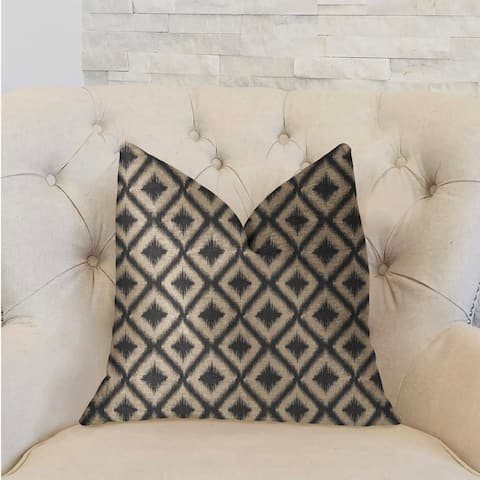 Plutus Diamond Embers Gray and Beige Luxury Decorative Throw Pillow