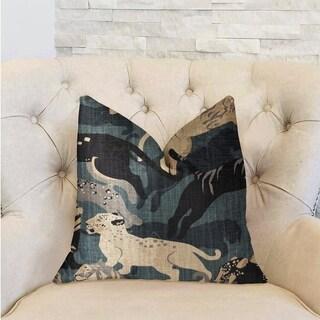 Plutus Kimono Tiger Blue and Beige Luxury Decorative Throw Pillow