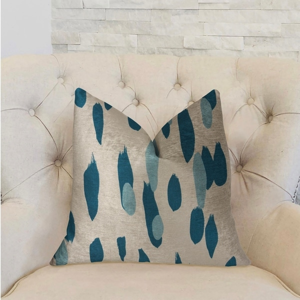 Plutus Bosky Willow Blue and White Luxury Decorative Throw Pillow
