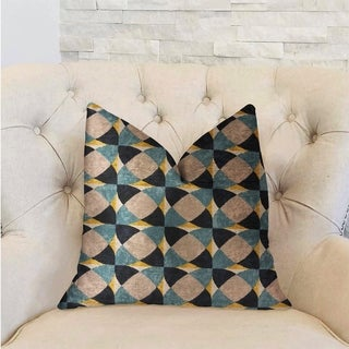 Plutus Shape Reflections Blue and Beige Luxury Decorative Throw Pillow