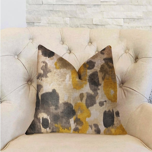Plutus Pretty Passion Yellow, Beige and Gray Luxury Decorative Throw Pillow