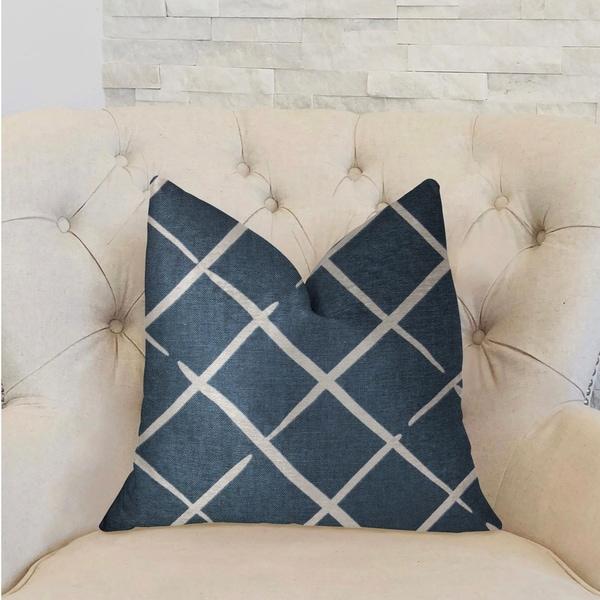 Plutus DaVinci Blue and White Luxury Decorative Throw Pillow