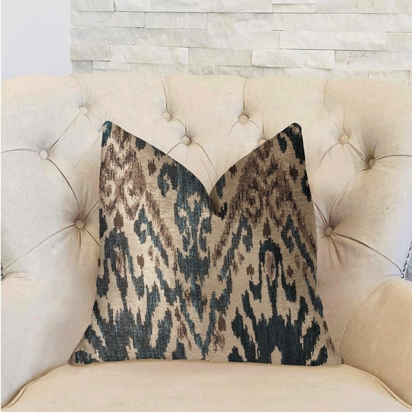 Plutus Kaveh Green, Beige and Brown Luxury Decorative Throw Pillow