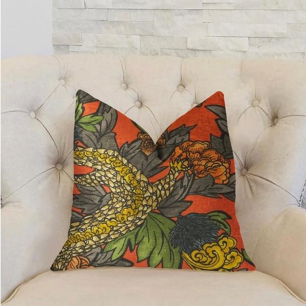 Plutus Amaryllis Dragon Multicolor Luxury Decorative Throw Pillow