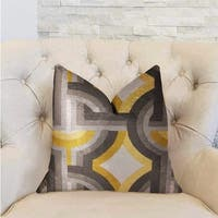 Plutus Delightful Chain Yellow, Beige and Gray Luxury Decorative Throw Pillow