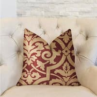 Plutus Sacred Shield Red and Beige Luxury Throw Pillow