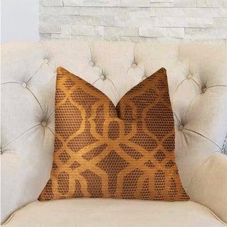 Plutus Portia  Gold and Brown Luxury Decorative Throw Pillow