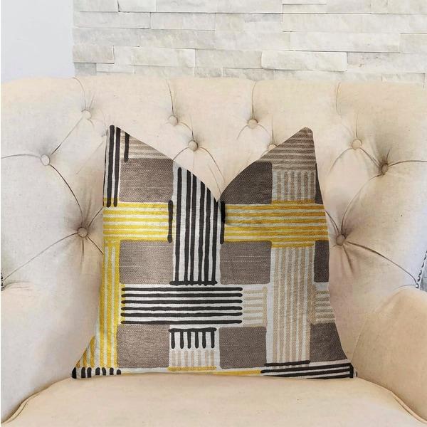 Plutus Hummingbird Isle Yellow, Beige and Gray Luxury Decorative Throw Pillow