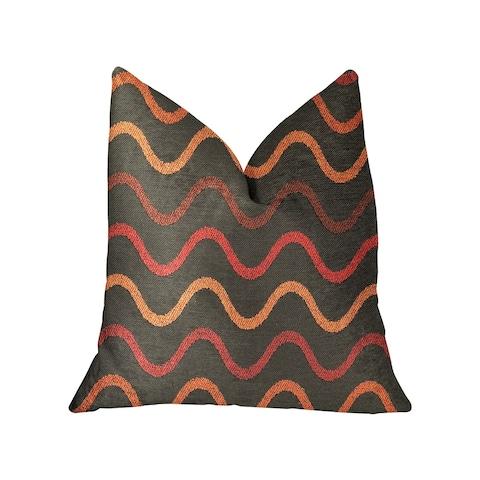 Plutus Serenity Flow Gray and Orange Luxury Decorative Throw Pillow